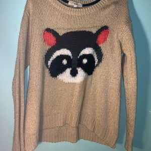 NWOT raccoon sweater